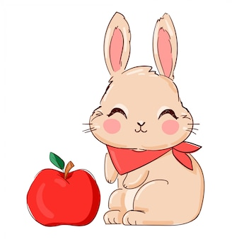 Dibujado a mano cute bunny and apple, print design rabbit.