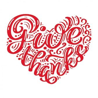 Dibujado a mano dar gracias tipografía cartel