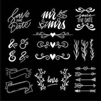 Dibujado a mano decoración de la boda