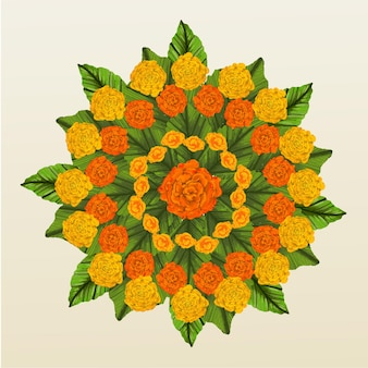 Dibujado a mano decoración floral onam