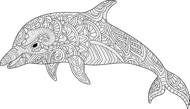 Dibujado a mano delfín zentangle