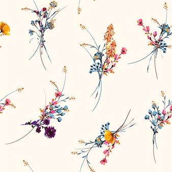 Dibujado a mano delicado y pintado prado floral de patrones sin fisuras