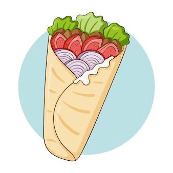 Dibujado a mano deliciosa ilustración de shawarma