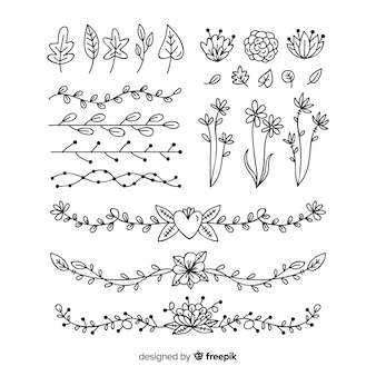 Dibujado a mano detallada colección de adornos florales