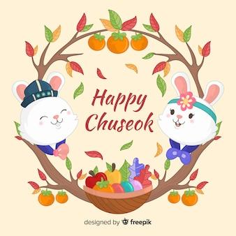 Dibujado a mano día chuseok con conejos