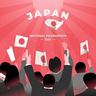 Dibujado a mano día de la fundación japón con banderas