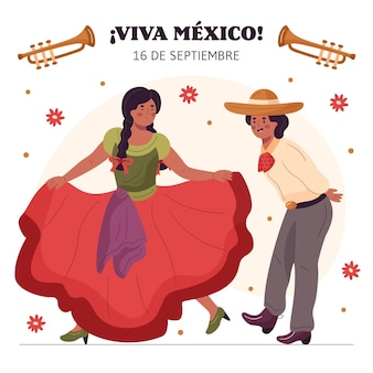 Dibujado a mano el día de la independencia mexicana