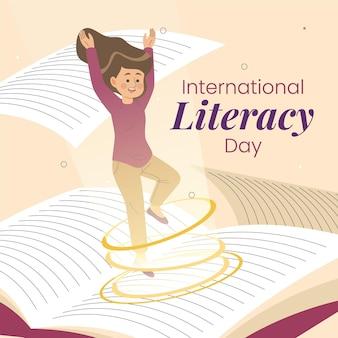 Dibujado a mano día internacional de alfabetización con niña y libro