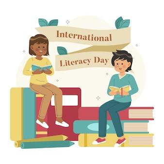Dibujado a mano el día internacional de la alfabetización con personajes