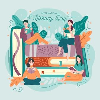 Dibujado a mano día internacional de alfabetización con personas