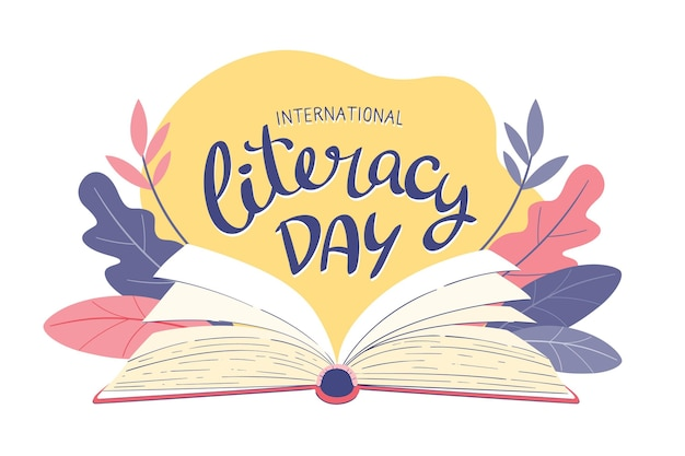 Dibujado a mano el día internacional de la alfabetización