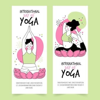 Dibujado a mano el día internacional del banner de yoga