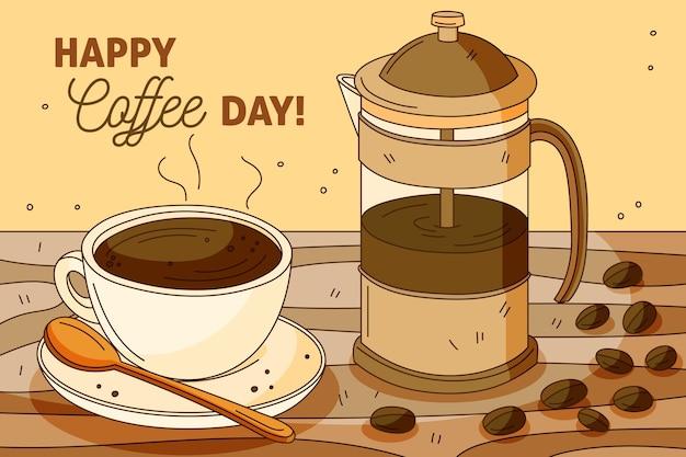 Dibujado a mano día internacional del café con cafetera de prensa francesa