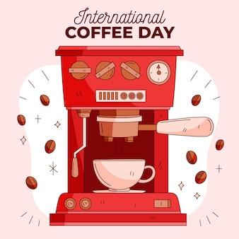 Dibujado a mano día internacional del café con máquina de espresso.