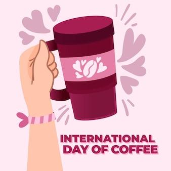 Dibujado a mano día internacional del café