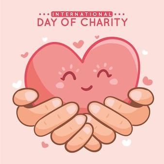 Dibujado a mano día internacional de caridad