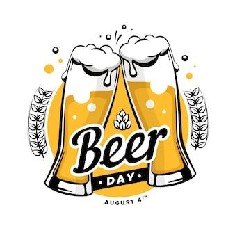 Dibujado a mano el día internacional de la cerveza