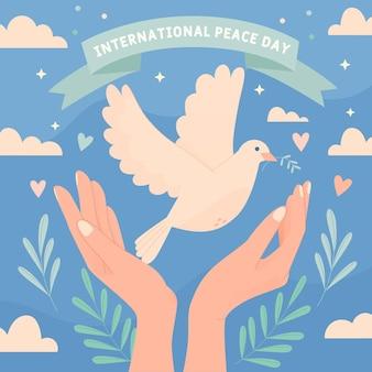 Dibujado a mano el día internacional del concepto de paz