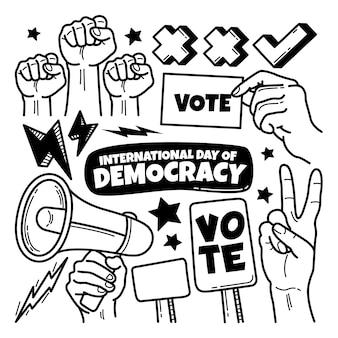 Dibujado a mano el día internacional de la democracia