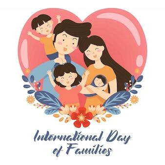 Dibujado a mano día internacional de la familia / día internacional de las familias con fondo de amor corona de flores