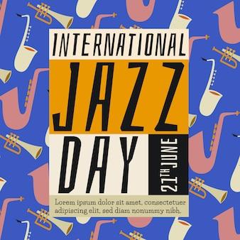 Dibujado a mano el día internacional del jazz