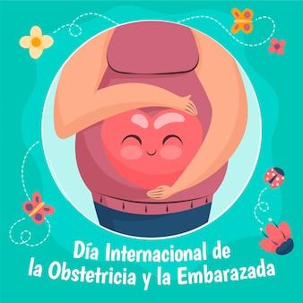 Dibujado a mano dia internacional de la obstetricia y la embarazada ilustración