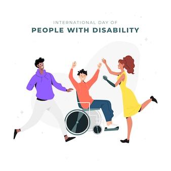 Dibujado a mano día internacional de las personas con discapacidad.