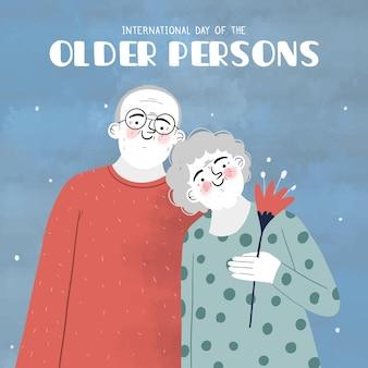 Dibujado a mano día internacional de las personas mayores.
