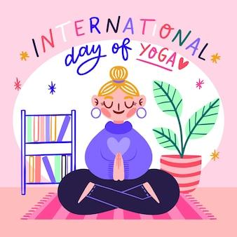 Dibujado a mano el día internacional del yoga ilustrado