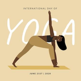 Dibujado a mano día internacional del yoga