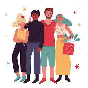 Dibujado a mano día de la juventud - personas abrazándose juntas