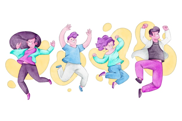 Dibujado a mano día de la juventud saltando personas
