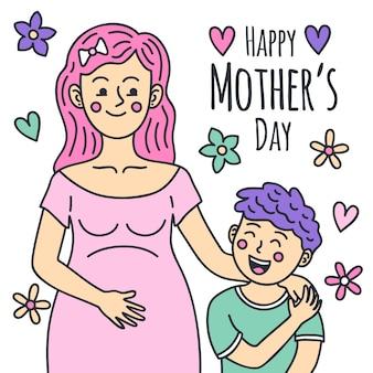 Dibujado a mano el día de la madre