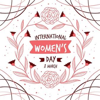 Dibujado a mano el día de la mujer con flores y hojas
