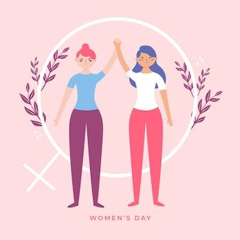 Dibujado a mano el día de la mujer con mujeres tomados de la mano