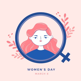 Dibujado a mano el día de la mujer con signo femenino