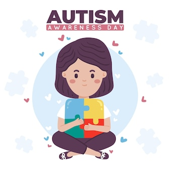 Dibujado a mano día mundial de la concienciación sobre el autismo
