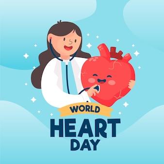 Dibujado a mano día mundial del corazón con doctor