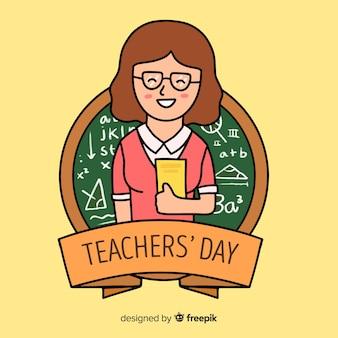 Dibujado a mano el día mundial de los docentes con una mujer sosteniendo libros
