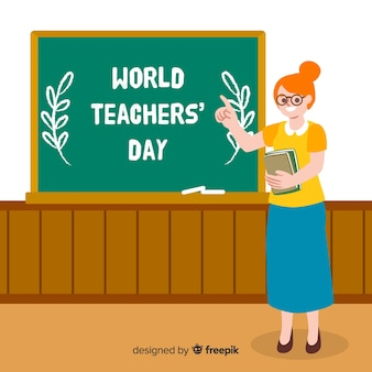 Dibujado a mano el día mundial de los docentes con mujer