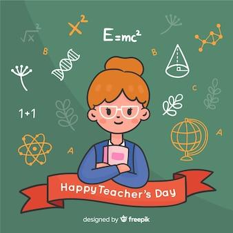 Dibujado a mano el día mundial de los docentes