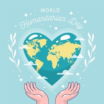 Dibujado a mano día mundial humanitario