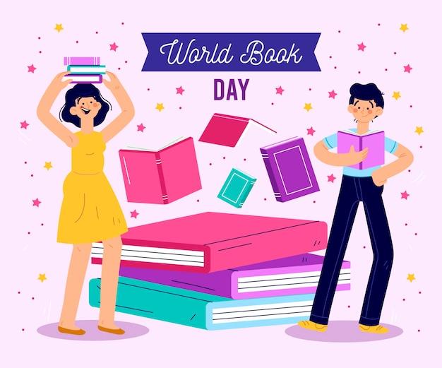 Dibujado a mano día mundial del libro