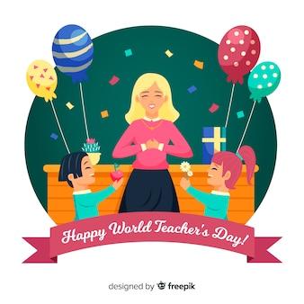 Dibujado a mano el día mundial del maestro con globos