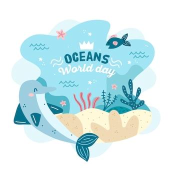 Dibujado a mano el día mundial de los océanos