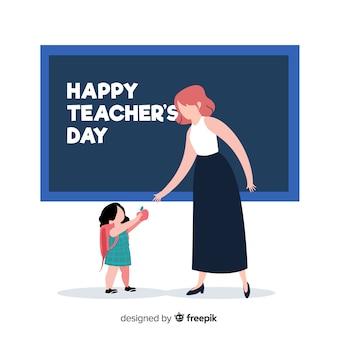Dibujado a mano el día mundial del profesor con profesor y alumno