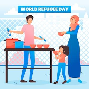 Dibujado a mano el día mundial de los refugiados