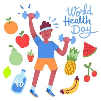 Dibujado a mano el día mundial de la salud con el hombre haciendo cardio