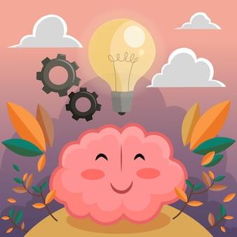 Dibujado a mano día mundial de la salud mental con cerebro y bombilla