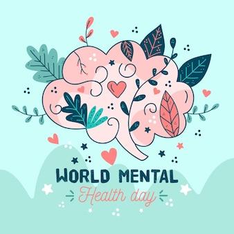 Dibujado a mano día mundial de la salud mental con cerebro